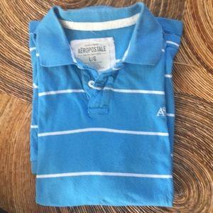 Aeropostale blue and white striped polo shirt